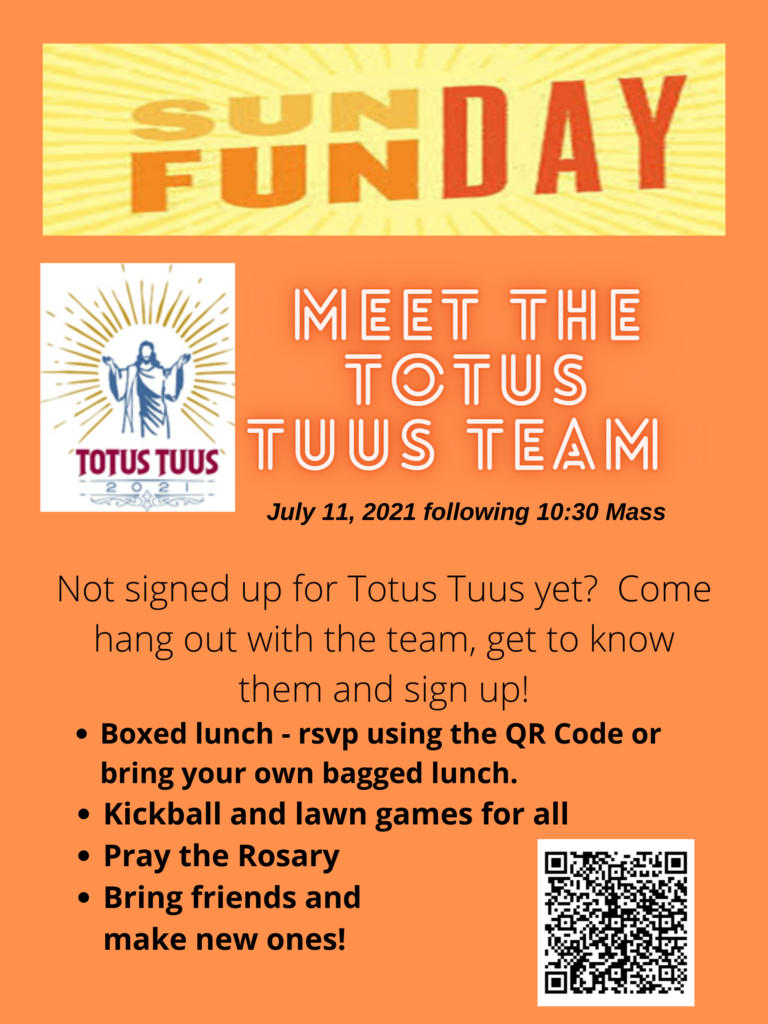 July Sunday Funday Meet the Totus Tuus Team